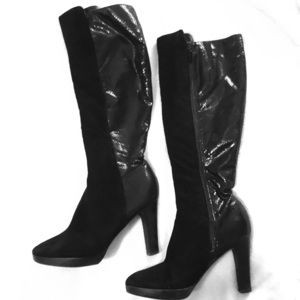 Black Heel Boots; Suede, Patent Leather Back (6.5)